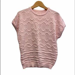 80's Vintage Oversized Knit Sweater Short Sleeve M
